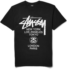 Stüssy - World Tour Printed Cotton-Jersey T-Shirt
