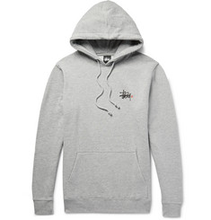 Stüssy - Basic Logo Printed Fleece-Back Cotton-Blend Jersey Hoodie