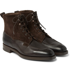 Edward Green Nevis Shearling-Lined Cross-Grain Leather Boots