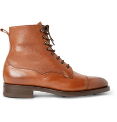 Edward Green Galway Cap-Toe Grained-Leather Boots