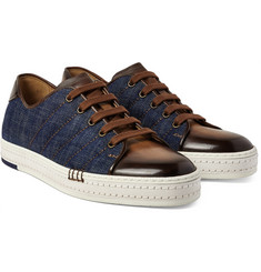 Berluti - Playfield Denim and Burnished Venezia Leather Sneakers