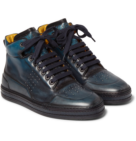 Burnished Venezia Leather High-top Sneakers - Indigo