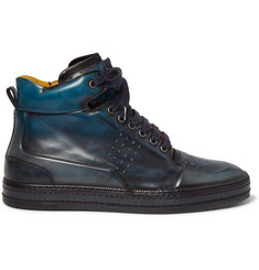 Berluti Polished-Leather High-Top Sneakers