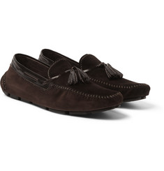 Berluti - Patent Leather-Trimmed Suede Loafers