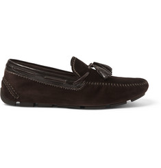Berluti Patent Leather-Trimmed Suede Loafers