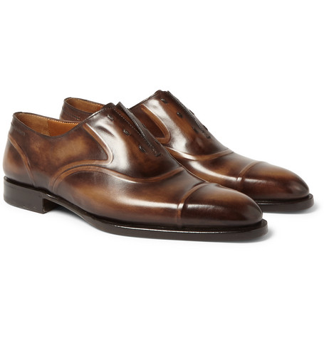 Victor Polished-leather Slip-on Oxford Shoes - Brown