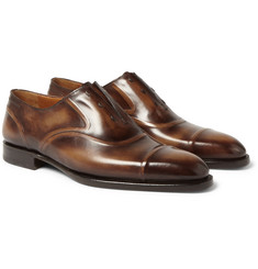 Berluti - Victor Burnished Venezia Leather Slip-On Oxford Shoes