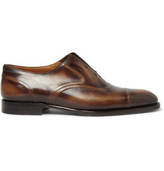 Berluti Victor Polished-Leather Slip-On Oxford Shoes