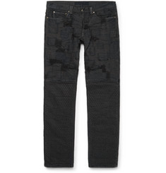 Blackmeans Slim-Fit Patchwork Washed-Denim Jeans