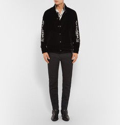 Blackmeans Embroidered Velvet Bomber Jacket