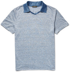 Berluti - Slim-Fit Striped Mélange Linen Polo Shirt