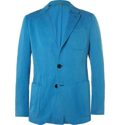 Berluti Blue Slim-Fit Silk and Linen-Blend Blazer