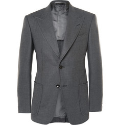 Tom Ford - Grey Slim-Fit Sharkskin-Woven Mohair, Silk and Wool-Blend Blazer