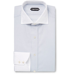 Tom Ford Blue Slim-Fit Contrast-Collar Striped Cotton Shirt