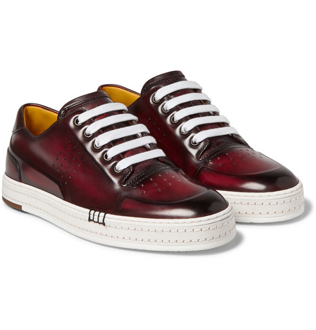 Playtime Polished-leather Sneakers - Brown