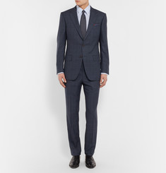 Gieves & Hawkes - Navy Slim-Fit Checked Wool Suit Jacket