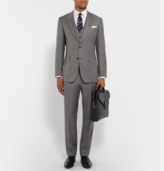 Gieves & Hawkes - Grey Slim-Fit Sharkskin Wool Suit Jacket