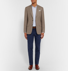 Gieves & Hawkes Brown Slim-Fit Silk and Cashmere-Blend Blazer