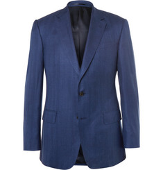 Gieves & Hawkes Blue Slim-Fit Herringbone Virgin Wool, Silk and Linen-Blend Blazer