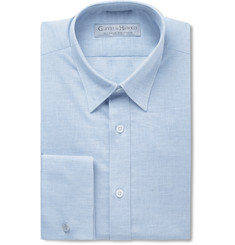 Gieves & Hawkes Blue Slim-Fit Double-Cuff Linen and Cotton-Blend Shirt