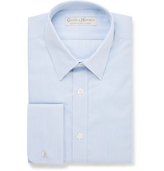 Gieves & Hawkes Blue Slim-Fit Striped Cotton Shirt