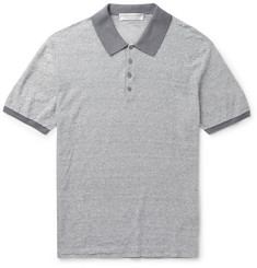 Gieves & Hawkes - Slim-Fit Striped Linen and Cotton-Blend Polo Shirt