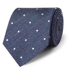 Gieves & Hawkes Polka-Dot Silk and Linen-Blend Tie