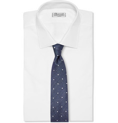 Gieves & Hawkes - Polka-Dot Silk and Linen-Blend Tie
