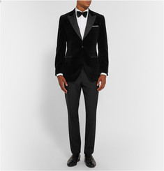 Gieves & Hawkes Black Slim-Fit Velvet Tuxedo Jacket