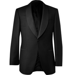 Gieves & Hawkes Black Shawl-Collar Wool and Mohair-Blend Dinner Jacket
