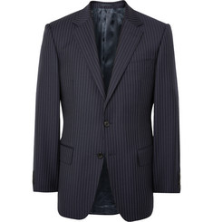 Gieves & Hawkes Midnight-Blue Slim-Fit Pinstriped Wool Blazer