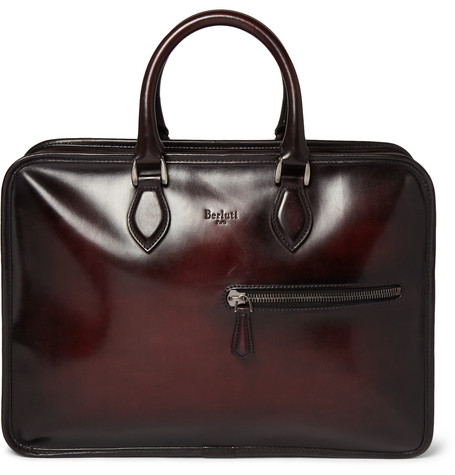 berluti male 250960 berluti un jour polishedleather briefcase red