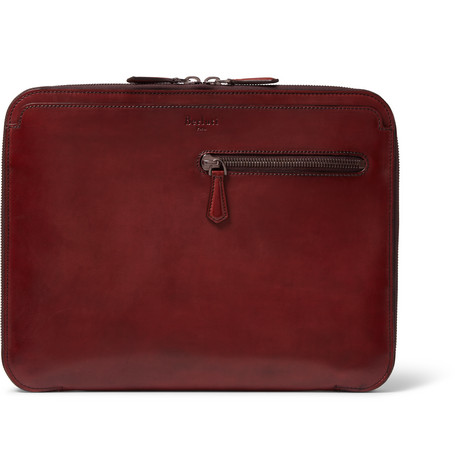 berluti male 250960 berluti au grand jour polishedleather pouch red