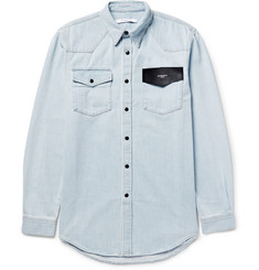 Givenchy Cuban-Fit Leather-Trimmed Denim Shirt