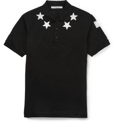 Givenchy - Cuban-Fit Star-Appliquéd Cotton-Piqué Polo Shirt