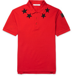 Givenchy - Cuban-Fit Star-Appliquéd Cotton-Pique Polo Shirt