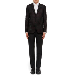 Givenchy Black Slim-Fit Embroidered Bouclé Blazer