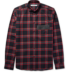 Givenchy - Slim-Fit Leather-Trimmed Checked Cotton-Twill Shirt