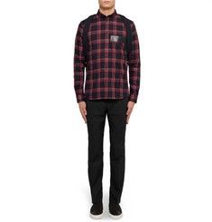 Givenchy Slim-Fit Leather-Trimmed Checked Cotton-Twill Shirt
