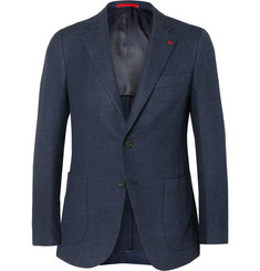 Isaia - Navy Slim-Fit Cotton and Silk-Blend Blazer
