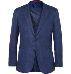 Isaia - Blue Slim-Fit Stretch Wool, Silk and Linen-Blend Blazer