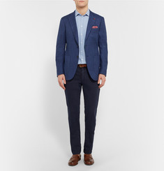 Isaia Blue Slim-Fit Stretch Wool, Silk and Linen-Blend Blazer