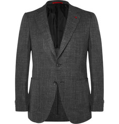 Isaia Grey Slim-Fit Wool, Silk, Linen and Cashmere-Blend Blazer