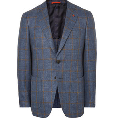Isaia - Blue Gregory Slim-Fit Checked Wool, Silk and Linen-Blend Blazer