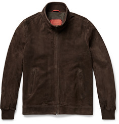 Isaia Perforated Suede Bomber Jacket
