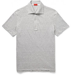 Isaia Slim-Fit Mélange Linen and Cotton-Blend Polo Shirt
