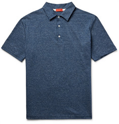 Isaia - Slim-Fit Patterned Knitted Cotton Polo Shirt