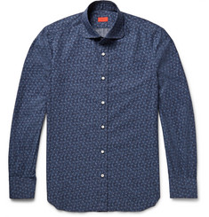 Isaia Slim-Fit Penny-Collar Printed Cotton Shirt