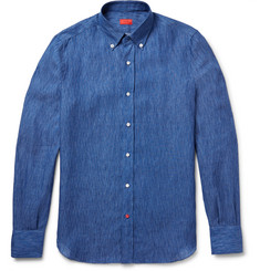 Isaia Slim-Fit Linen-Birdseye Shirt
