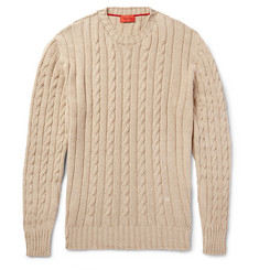Isaia - Cable-Knit Cotton and Cashmere-Blend Sweater